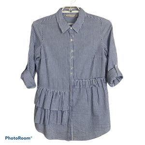 Soft Surroundings Seersucker Button Down Shirt